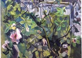 俄罗斯《花园中的玫瑰》风景油画
