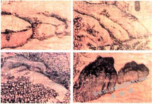《江帆楼阁图》中石山画法