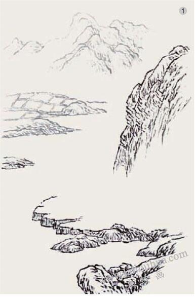 山水画《湖山春色》的画法步骤01