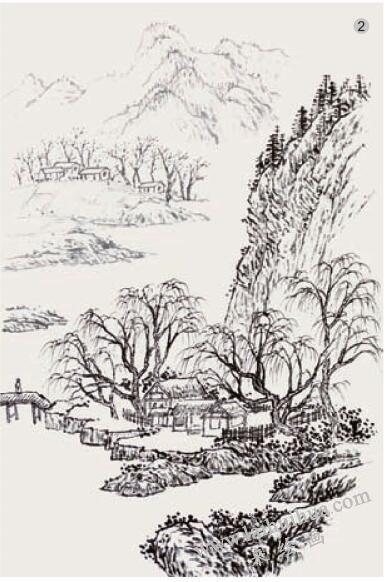 山水画《湖山春色》的画法步骤02