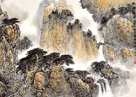 水墨赭石淡彩画法