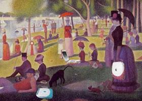 世界名画:《大碗岛的星期日下午》布面油彩