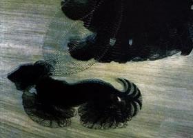 世界名画:《栓着皮带的狗》布面油画