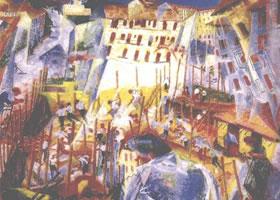 世界名画:《骚动的城市》布面油画