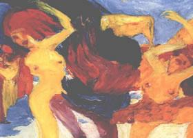 世界名画:《围着金牛犊的舞蹈》布面油画