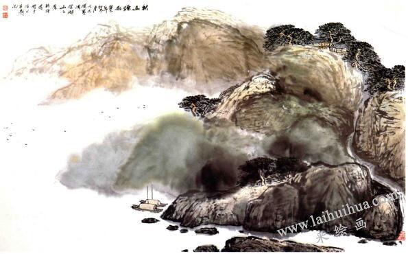 秋山烟雨,山水画