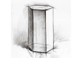 六棱柱的素描画法
