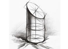 切面圆柱的素描画法