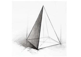 四棱锥体的素描画法