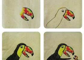巨嘴鸟儿童画教学过程