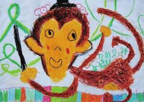 调皮的猴子儿童画作品图片