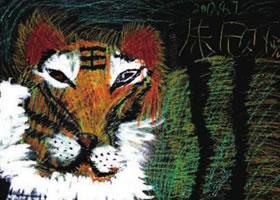 威猛的老虎儿童画作品图片