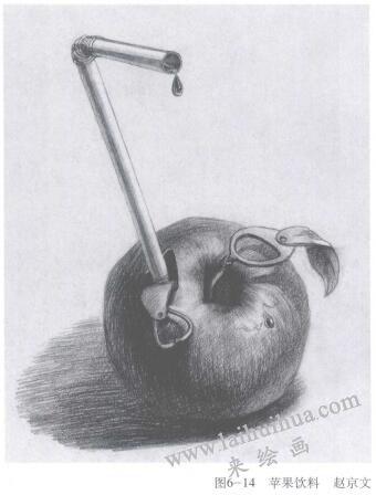 苹果饮料,手绘创意素描