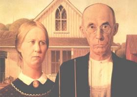 世界名画:《美国哥特式》木板油画