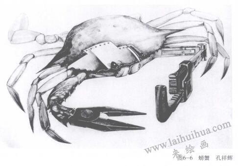 螃蟹创意素描
