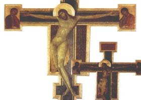 世界名画《基督受难图》木板蛋彩