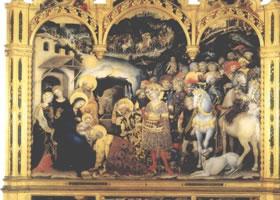 世界名画《三王来拜》木板蛋彩