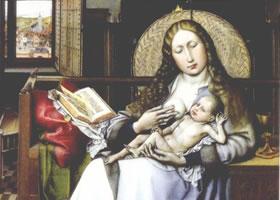 世界名画《圣母子》木板油画