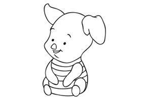 卡通小动物小胖猪简笔画