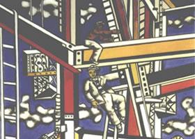 世界名画《建筑工人》布面油画