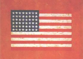世界名画《橘红色上的美国国旗》布面油彩