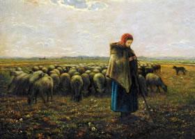 世界名画《牧羊女》布面油画