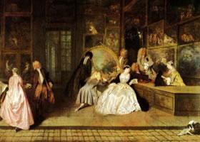 世界名画《热尔桑画店》布面油画