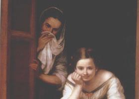 世界名画《窗前两妇人》布面油画