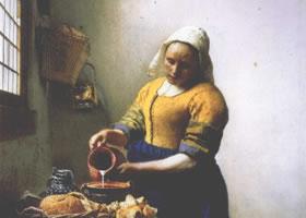 世界名画《倒牛奶的妇女》布面油画