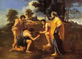 世界名画《阿尔卡迪的牧人》布面油画