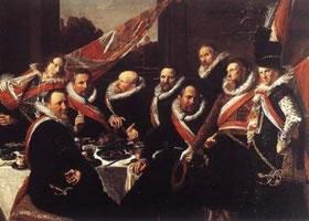 世界名画《圣乔治卫队军官的宴会》布面油画