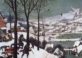 世界名画《雪中猎人》板上油画