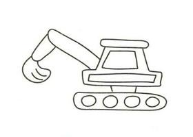 工程车简笔画画法步骤(二)