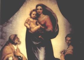 世界名画《西斯廷圣母玛利亚像》布面油画欣赏