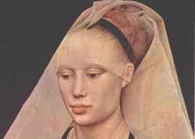 世界名画《妇女肖像》木板油画