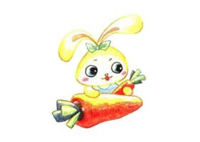 兔子色铅笔简笔画作品