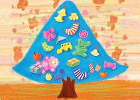 漂亮的圣诞树儿童蜡笔画