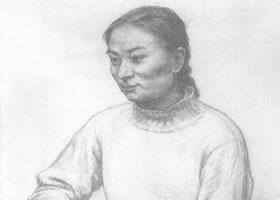 中年女子素描肖像画作品(一)