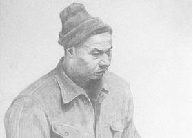 中年男子素描肖像画作品(四)