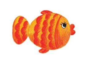 快活的鱼儿童蜡笔画画法步骤