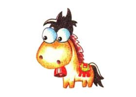 马的色铅笔简笔画画法步骤