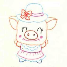 小猪的色铅笔简笔画画法步骤02