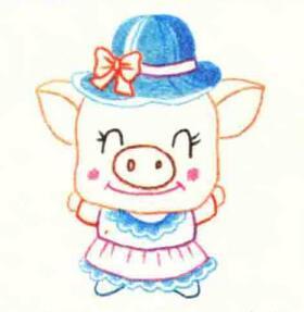 小猪的色铅笔简笔画画法步骤03