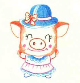 小猪的色铅笔简笔画画法步骤04