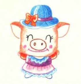 小猪的色铅笔简笔画画法步骤05
