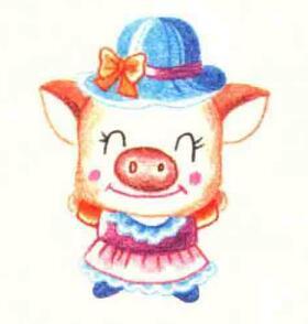 小猪的色铅笔简笔画画法步骤06