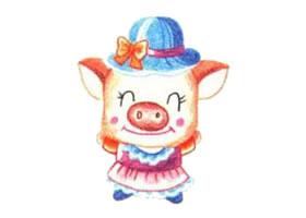 小猪的色铅笔简笔画画法步骤