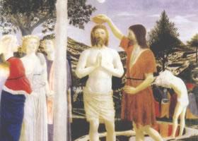 世界名画《基督受洗礼》板蛋彩油画