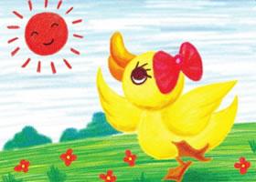 小鸭子晒太阳儿童蜡笔画画法