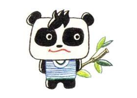 大熊猫色铅笔简笔画画法步骤